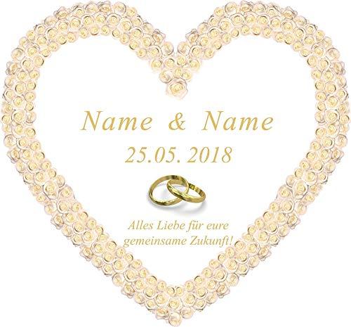 Personalisiertes Hochzeitsherz zum Ausschneiden für das Hochzeitsspiel oder zur Hochzeitsdekoration - mit den Vornamen, Datum und Glückwunschtext in einer Sprache Ihrer Wahl
