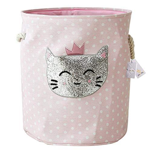 Znvmi Wäschekörbe Kinder Spielzeug Organizer Faltbare Groß Lagerung Aufbewahrungskorb Baby Girl Wäschesammler Wäschesack - Rosa Polka Dot Katze -