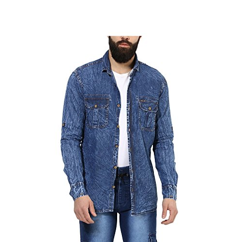 Urbano Fashion Men's Blue Slim Fit Casual Denim Shirt