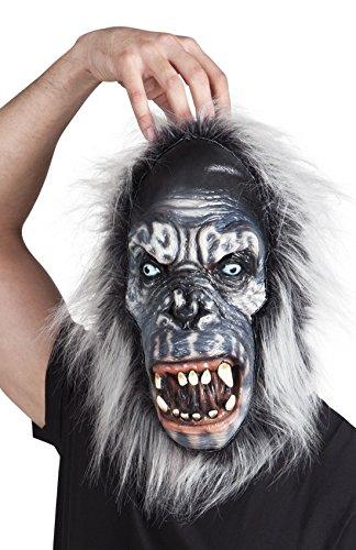 Halloweenia - Halloween Kostüm Latex Gorilla Kopf Maske mit Haaren Erwachsenen Masken, Mehrfarbig