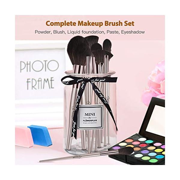Brochas de Maquillaje Profesional BESTOPE 18 piezas Premium Synthetic Set de Pinceles de Maquillaje para Cosmética Facial y Ocular (Champagne Gold)