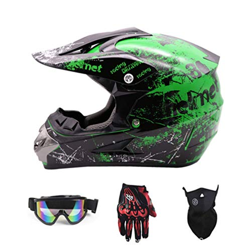 Kuccy Full Face Motorrad-Helme, Motorradhelm Enduro Motocross Helm XR-819 Motorradhelme Schutzhelm MTB Integralhelm Schutz Sicherheit Adult Helmet Handschuhe Maske Brille Motocrosshelm,M
