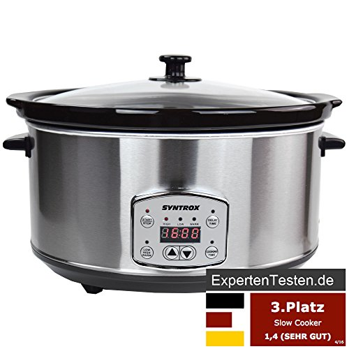 Syntrox Germany Digitaler Edelstahl Slow Cooker 6,5 Liter mit Warmhaltefunktion