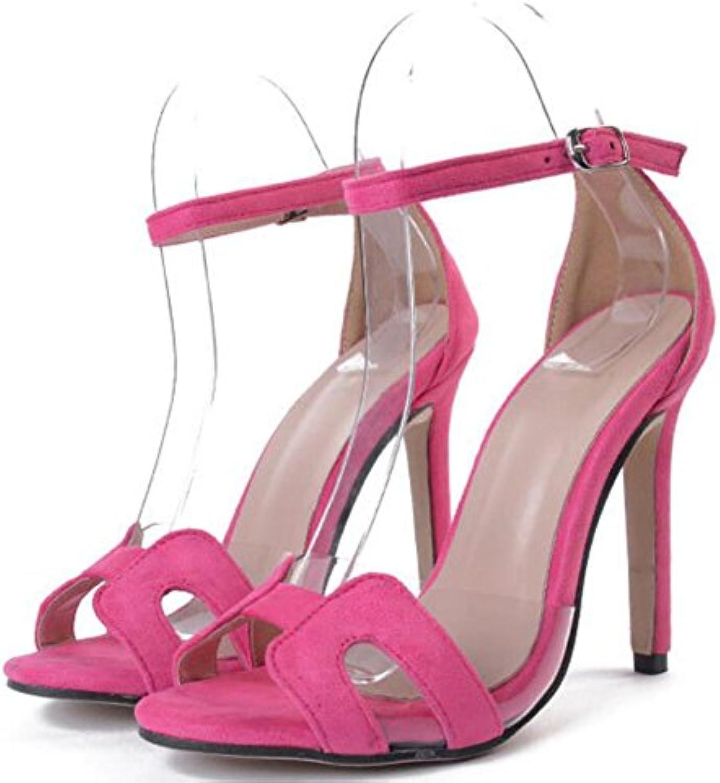 GAOLIXIA Tacones Altos de Las Mujeres Moda de Verano Sandalias de Tacón Hueco Zapatos Ocasionales Cómodos Negro...