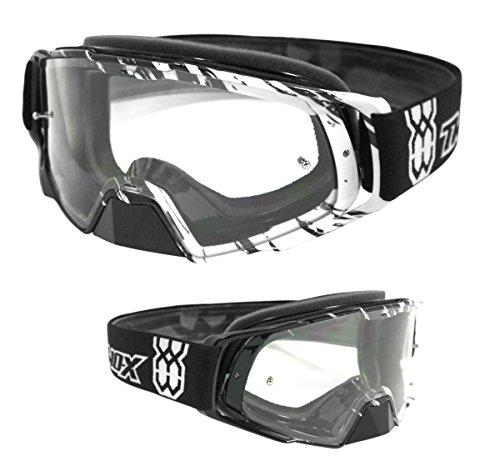 TWO-X Rocket Crossbrille Crush schwarz Weiss klar MX Brille Motocross Enduro Klarglas Motorradbrille Schutzbrille mit Nasenschutz Anti Scratch Fast Change