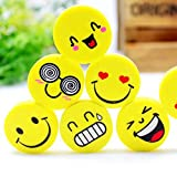 #4: RIANZ Emoji Smile Erasers Fancy Eraser Rubber Assorted Style Student Stationery, Birthday Gift/ Christmas Gift For Kids (Set of 9)