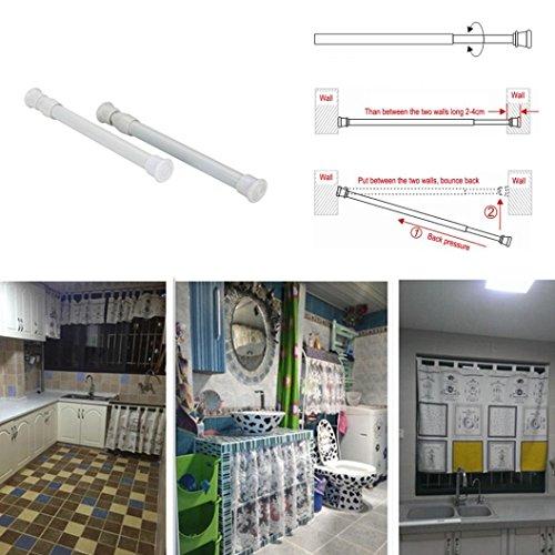 JIANGFU Garderobenvorhang einziehbare Speicherstange,Adjustable18-50cm Dusche / Kleiderschrank Vorhang Hanging Rods Sticks Pole Loaded Kleiderbügel - Vorhang Rod Hanging