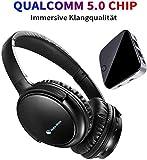 MAKEMATE BKM100 Funkkopfhörer für Fernseher, Bluetooth TV Headset mit Bluetooth Adapter(V4,1) Set OPTISCH, Protein Ohrenschützer, Volume Speicher, Stereo Digital Kopfhörer für TV PC Handy Tablet