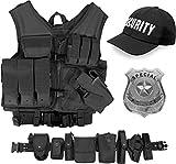 normani Security Kostüm bestehend aus taktischer Weste, Einsatz-Gürtel, Cap, US Abzeichen OneSize und Unisex