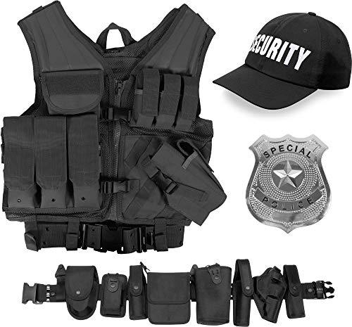 Weste Swat Taktische Kostüm - normani Security Kostüm bestehend aus taktischer Weste, Einsatz-Gürtel, Cap, US Abzeichen OneSize und Unisex