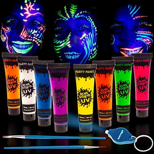 UV-Lich Farbe für Schminke Bodypainting, 8x15ml Neon Farben Leuchtfarben wit KOSTENLOSE Mini-UV-LED-Leuchte & 2 Kunstbürste, Schwarzlicht-Körperfarbe, Fluoreszierende Face & Body Paint make up