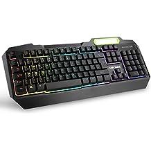 Gaming Tastatur, RGB LED Regenbogen Hintergrundbeleuchtung USB Verdrahtete Spiel Tastaturen - DE Layout