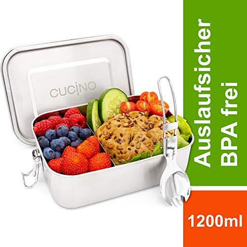 Cucino 100% auslaufsichere Lunchbox mit Fächer & faltbarem Göffel - Brotdose Kinder mit Trennwand, Zero Waste, Bento Box, Edelstahl Brotdose, spülmaschinengeeignet