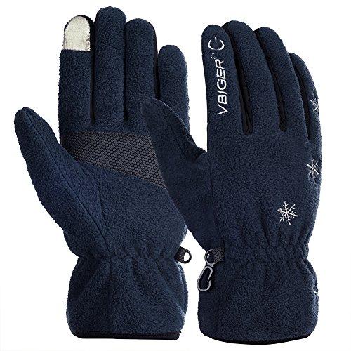 Vbiger Touchscreen Handschuhe Fleece Handschuhe Winterhandschuhe Warme Handschuhe Sporthandschuhe, Blau, M