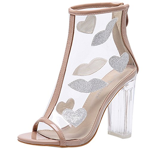 Oasap Women's Transparent Peep Toe Chunky Heels Ankle Boots apricot