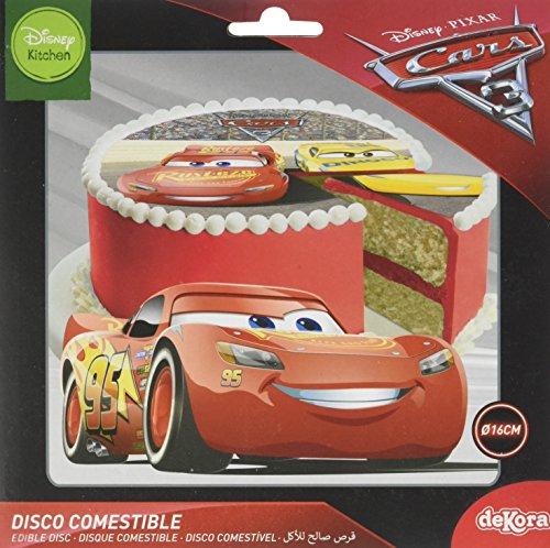 Cars Disque en Sucre 16 cm Cars sans Gluten sans Colorants Azoïques 15 g