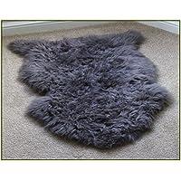 LiveBox decorativo in finta pelle di pecora Coprisedile Sedia Tinta Unita Shaggy lana naturale Supersoft Trow pavimento lana spessa Tappetini Area Rugs Avorio 60* 90cm Grey
