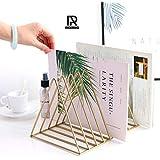 9 Triangular Slots Magazine Rack Iron Desk Book Record Holder Storage Organizer Bookcase for Home School Office Decoration Gold