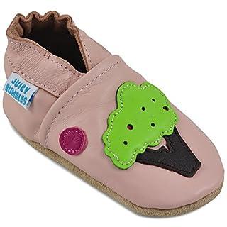Juicy Bumbles - Weicher Leder Lauflernschuhe Krabbelschuhe Babyhausschuhe mit Wildledersohlen. Junge Mädchen Kleinkind- Gr. 0-6 Monate (Größe 19/20)- Baum und Vogel