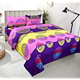 BSB Trendz HD 3D Printed Feel Like Glace Cotton 180 Tc With 200 GSM 3 Piece Bedding Set 1 Double Bedsheet 2 Pillow Covers Bedsheet Size-90X90 Inches Pillow Cover Size-17X27 Inches2660