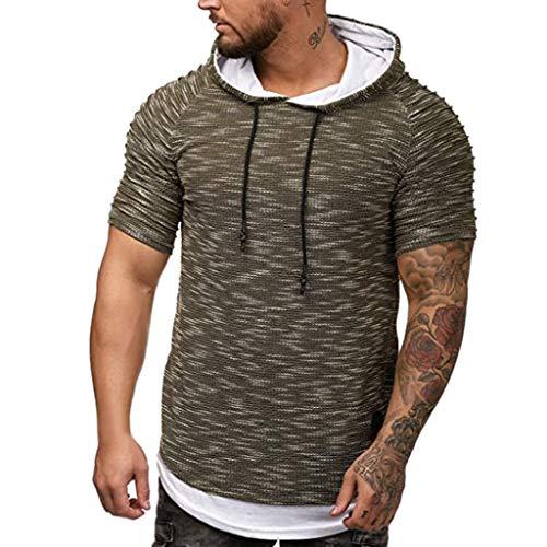 c8c14345 Men Tee Shirt Slim Fit Hoodies Short Sleeve Casual Tops Body Shaper Mens  Hoodie Shirt Short
