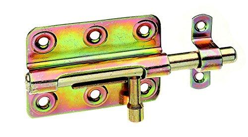 GAH-Alberts 128975 Bolzenriegel mit rundem Griff, mit befestigter Schlaufe, galvanisch gelb verzinkt, 80 x 59 mm