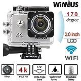 WiMiUS Q1 Caméra Sport 4k Full HD 16MP Wifi Etanche 40M Action Caméra Embarquée Grand Angle 170°Kit d'accessoires + 2 Batteries (Argent)