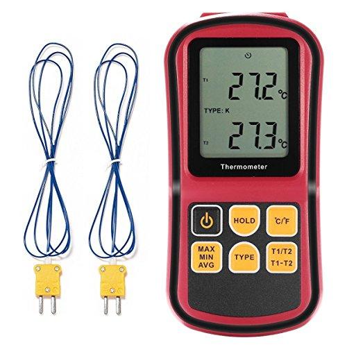 Temperaturmessgerät, GOCHANGE tragbar Digital-Thermometer Dual Channel Temperatur Tester für K / J / T / E / R / N Thermoelement mit LCD-Hintergrundbeleuchtung Thermoelement