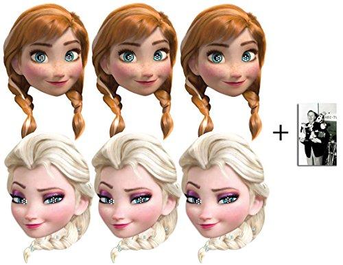 Frozen (Die Eiskönigin) Anna und Elsa Karte Partei Gesichtsmasken (Maske) Packung von 6 - Enthält 6X4 (15X10Cm) ()