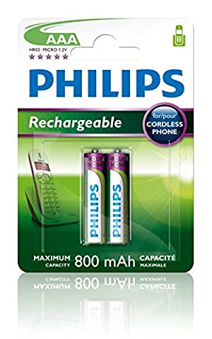 Philips R03B2A80 Batterie rechargeable 800mAh AAA 2 pièces