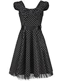 H&R London Robe NEVER FORFOTTEN DRESS dotted noir-blanc