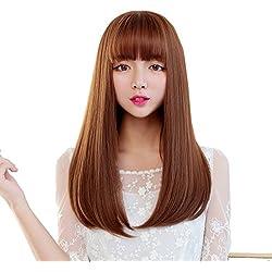 Snifgoij Wig Mujer Longa Cabello Liso Cabello Largo Pelo Natural Realista Peluca Set Medio Puntos Curl Largo Modificable Liso No Shine Realista,A