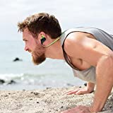DJMATE® Bluetooth Wireless v4.1 Sports Sweatproof Magnetic Secure Fit Noise Cancelling Headset with Mic with Zipper Bag (Green)