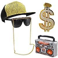 Fancy Dress VIP Express Hip Hop Costume Bundle Kit - Boombox Hat Chain Sunglasses