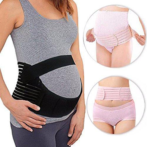 Weiche Atmungsaktive Schwangerschaftsbandage aus Baumwolle Bauch Rücken Unterstützung für Schwangeren Schwarz M