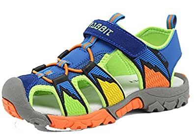 Pandafriend Little Boys Adventure Seeker Two-Strap Sandal (Toddler/Little Kid/Big Kid) (5 B(M) US Big Kid, Blue Green)