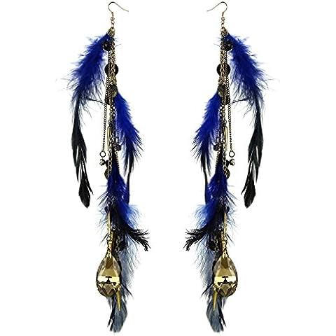 Lux accessori Uccelli di una piuma Flock insieme blu nero grande cristallo orecchini pendenti
