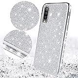 Uposao Coque pour Samsung Galaxy A50,Coque Glitter Strass Brillante Paillette en Métal Silicone TPU Souple Housse Etui Antichoc