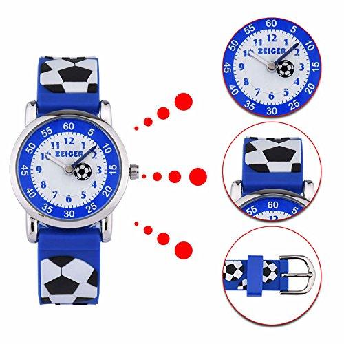 61f3629333e769 Montre Pédagogique Enfant Garçon Quartz KZKR Bleu avec Bracelet en Silicone    Motifs 3D Affichage Analogique (Bleu Football) ...