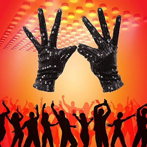 Michael Frauen Jackson Kostüm - Wankd Michael jackson handschuhe, Frauen Männer Kostüm Handschuhe Sequins Handschuhe Handgelenk Länge Kurze Party Handschuhe für Erwachsene Tanz Bühnen Performance (Schwarz)