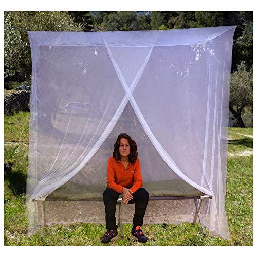 EVEN NATURALS MOSKITONETZ Einzelbett, Mückennetz für Bett, feinste Löcher, rechteckiges Camping Netz, Insektenschutz Etagenbett, 1 Eintrag, einfache Anbringung, Tragetasche, Keine Chemikalien
