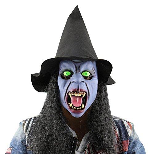 Wongfon Latex Vollgesichtsmaske Lange Haare Hexe Maske mit Hut Gruselige Party Horror Requisiten Halloween Kostüm, 23x20cm
