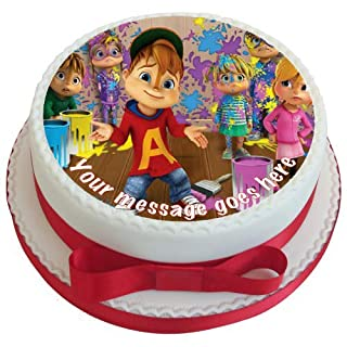 Alvin & The Chipmunks 19 cm Round Fondant Icing Edible Cake Topper and Printed with Your Custom Greeting -