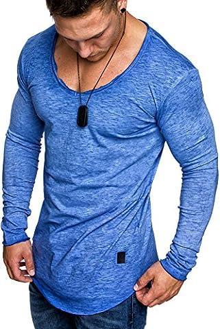 Amaci&Sons Oversize Herren Vintage Longsleeve Verwaschen V-Neck Sweatshirt Basic V-Ausschnitt Shirt 6071 Blau M
