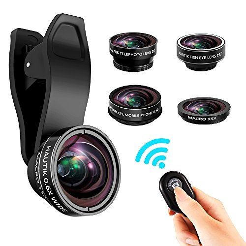 Cell Phone Camera Lens, ARORY 5 In 1 HD Lens Kit, 0.6X Wide Angle + 15X Macro Lens + Telephoto Lens + CPL Lens, Clip On Smartphone Lenses For IPhone 8/7/6/5/4, Samsung With Remote Shutter