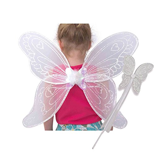 Weiße Glitzer Elfen Engel Flügel mit Zauberstab - Fee Engel Kostüm Kinder - Lucy ()