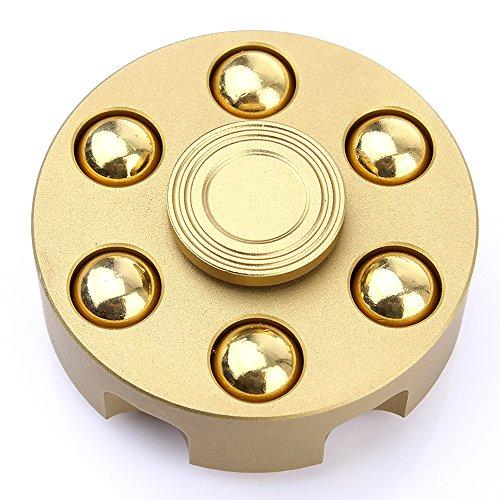 techvibe 360 Fidget Spinner Anti-Anxiety tri-spinner ayuda a Focusing Fidget Juguetes Premium calidad CNC metálico Focus juguete para niños & adultos - mejor reductor de estrés aliviar el ansiedad Revolver Bullet Gold