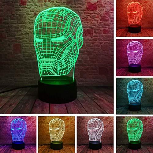 1 paket, neue lampe 3d kunst für iron man, maske nachtlicht superhero illusion stimmung lampe für kinder freunde papa kreative spielzeug geschenk