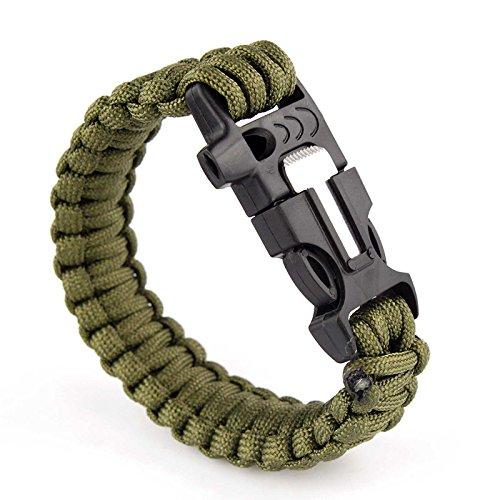 Pack von Zwei Überlebens-Armbänder Paracord Whistle Gear Schaber und Feuersteinstab Kits Outdoor (schwarz & Armee Grün)