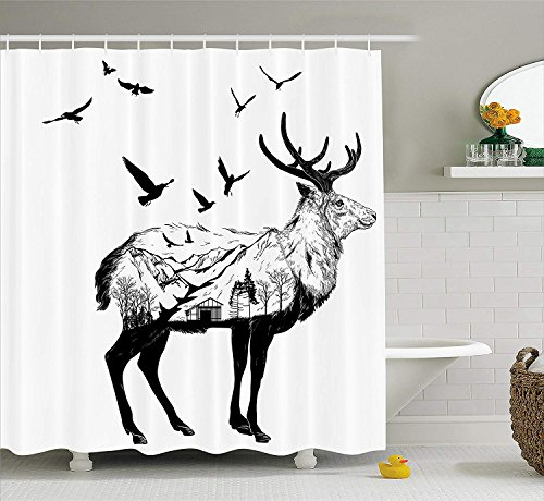 tgyew Deer Shower Curtain Set, Mountain and Cottage Scenery in Hand Drawn Animal Flying Birds Countryside Wildlife Themed, Fabric Bathroom Decor with Hooks, 60W X 72L Inches Long, Black White -